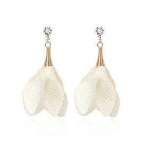 3/$20 New Gold & Cream Flower Dangle Earrings